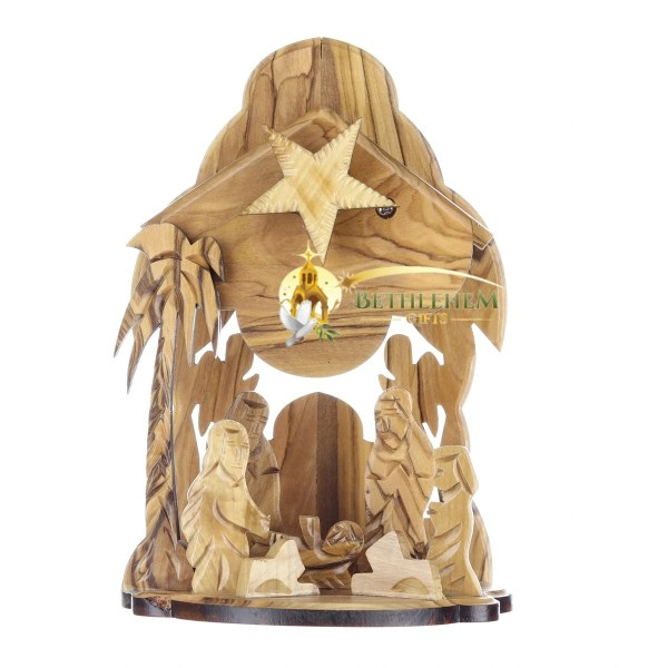 Hand crafted olive wood Music Box Nativity scene from Bethlehem