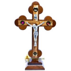 Olive Wood Mahogany Budded Crucifix on Base Small from Bethlehem