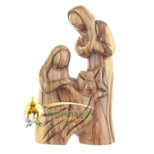 Olive Wood Holy Family with Star from Bethlehem