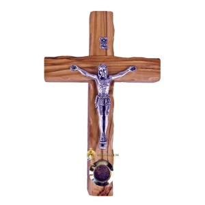 Latin Small Wooden Crucifix with Holy Earth from Bethlehem