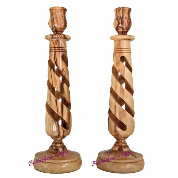 Lathe crafted Wooden Spiral Candle Holder from Bethlehem