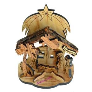 Nativity scene from Bethlehem. Wooden nativity from the Holy land