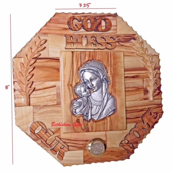 Hand crafted olive wood God Bless Our Home Blessed Mother and Child Large from Bethlehem