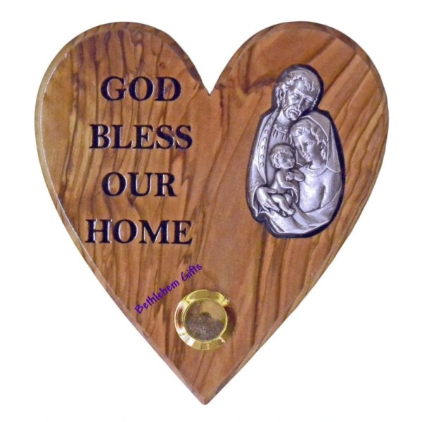 Hand crafted olive wood God Bless Our Home Holy Family Heart from Bethlehem