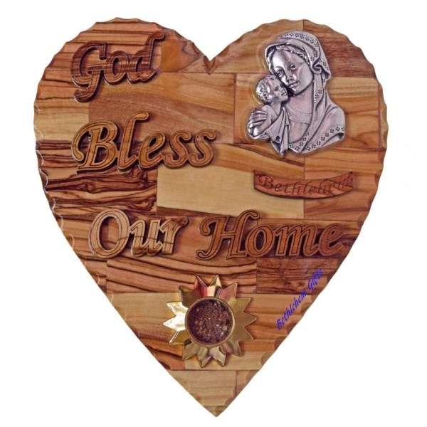 Hand crafted God Bless Our Home Our Home Blessed Mother and Child Large Heart-size