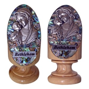 Pedestal Abalone Mother and Child, made in Bethlehem from olive wood