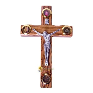Latin Olive Wood Medium Crucifix with Holy Samples from Bethlehem