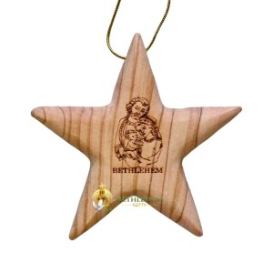 Olive Wood Star and Holy Family from Bethlehem