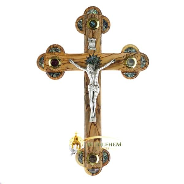 Large Olive Wood Abalone Budded Crucifix with Four Holy Samples from Bethlehem