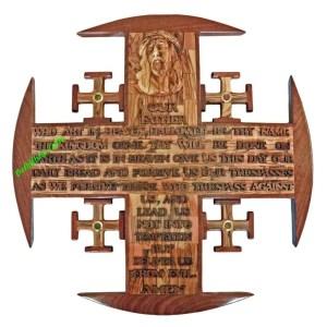 Olive wood Jerusalem Cross Olive Wood and Mahogany Large, hand crafted in Bethlehem