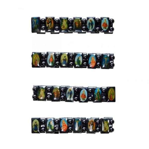 Elastic Hematite Religious Bracelet with random icons attached to blocks