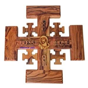 Olive wood Jerusalem Cross Large, hand crafted in Bethlehem