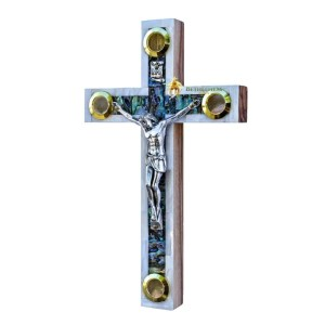 Mother of Pearl Small Latin Crucifix with Four Holy Samples from Bethlehem
