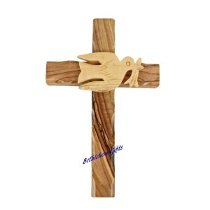 Hand made in Bethlehem, Olive Wood Dove and Cross