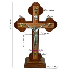 Hand made in Bethlehem, Olive Wood Mahogany Budded Crucifix on Base Medium