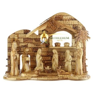 Hand crafted olive wood nativity set from Bethlehem.