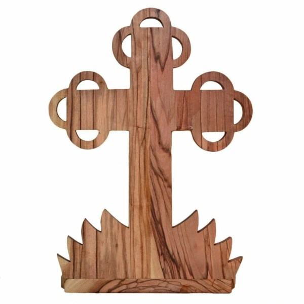 Water Font Budded Medium Crucifix with Holy Sample on Base-back, hand made from olive wood in Bethlehem