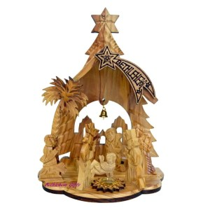 Olive wood Nativity scene from Bethlehem. Wooden nativity from the Holy land