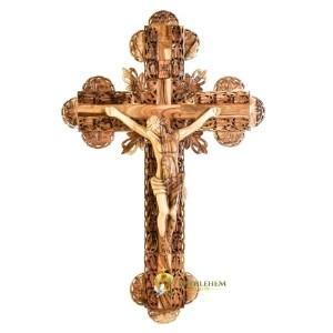 Large Budded Olive Wood Crucifix from Bethlehem