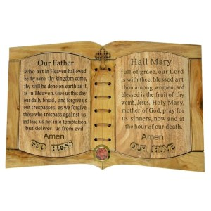 The Lord's Prayer and Hail Mary Prayer, olive wood from Bethlehem