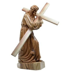Olive Wood Jesus with His Cross from Bethlehem