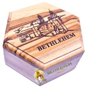 Olive Wood Rosary Box with Church of the Nativity from Bethlehem