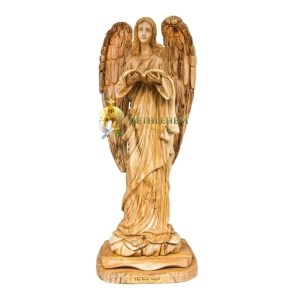 Large Olive Wood Angel with Hymnal from Bethlehem
