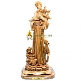 Olive Wood Large St. Francis from Bethlehem