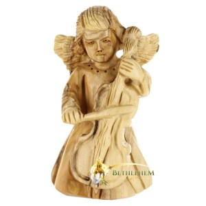 Olive Wood Angel with Cello