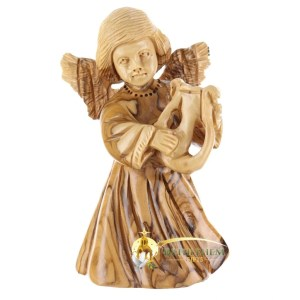 Olive Wood Angel with Harp from Bethlehem
