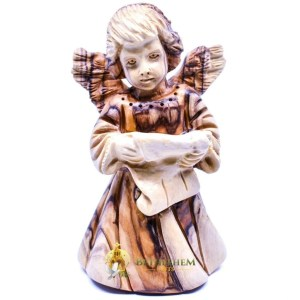 Olive Wood Angel with Hymnal from Bethlehem