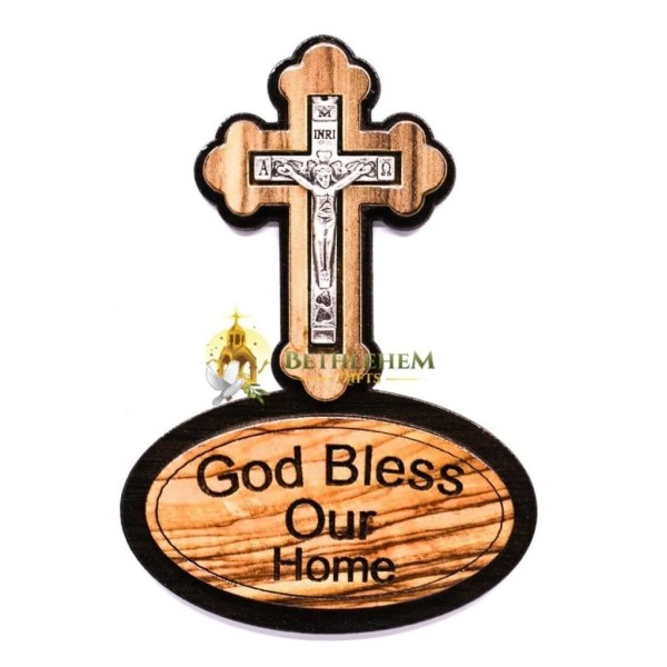 Olive Wood God Bless Our Home Cross Magnet from Bethlehem