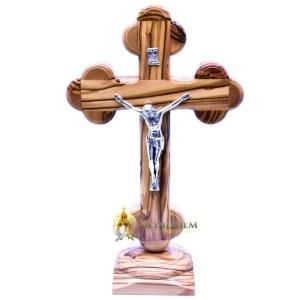 Olive Wood Budded Crucifix on Base from Bethlehem