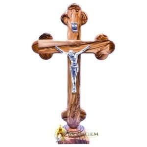 Wooden Budded Large Crucifix on Base from Bethlehem