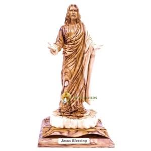 Olive Wood Jesus Blessings Statue from Bethlehem