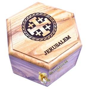 Olive Wood Rosary Box with Jerusalem Cross from Jerusalem