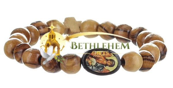 Olive Wood Beads Elastic Bracelet from Bethlehem