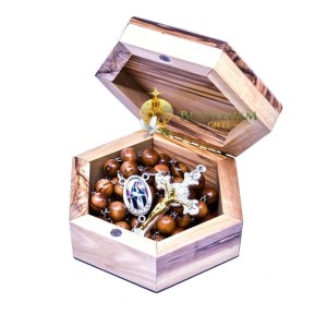 Crusader Cross Wooden Box with Rosary from the olive wood of Bethlehem