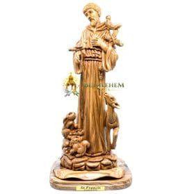 Olive Wood Large St. Francis from Bethlehem
