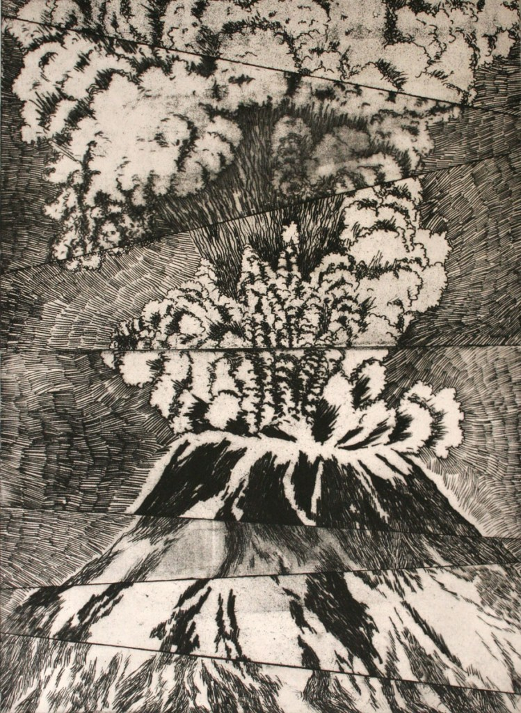 etching: Eruption Mt. St. Helens
