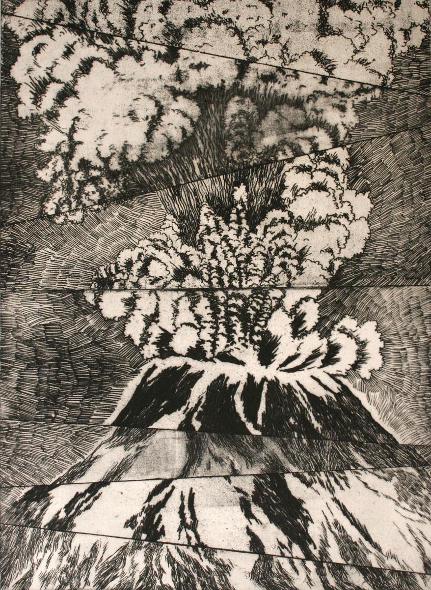 etching: Eruption Mt. St. Helens