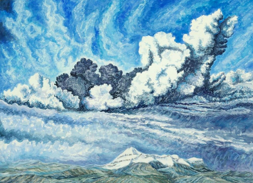 watercolor: Eyjafjallajokull Icelandic volcano