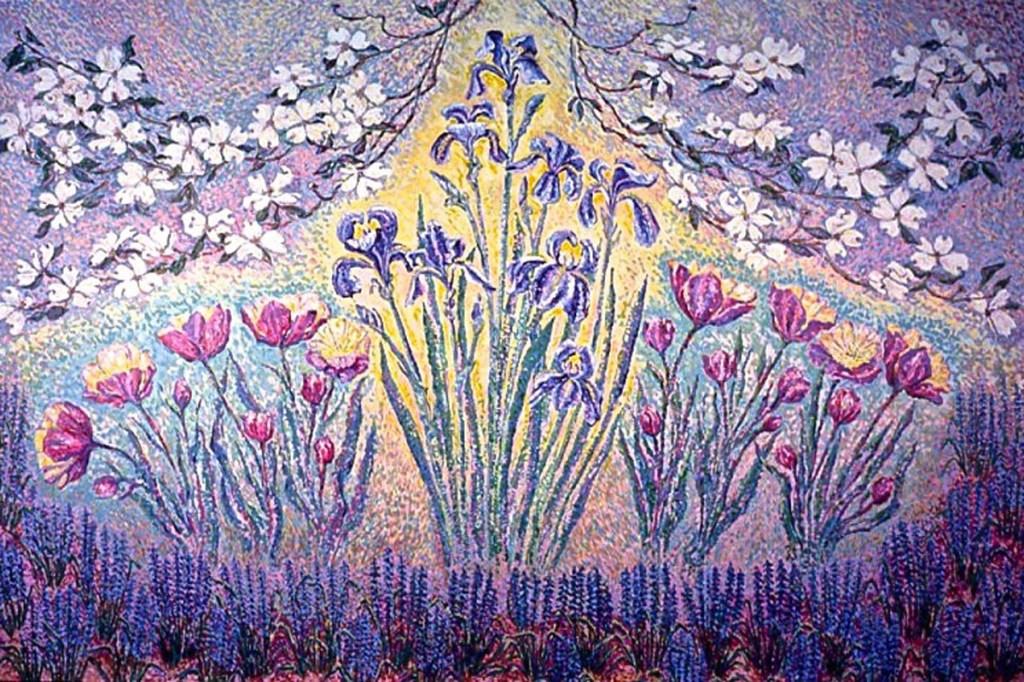 Dogwood, Peony, Tulips, Iris: acrylic painting