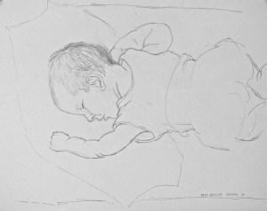 graphite drawing: Gwendolyn Sleeping
