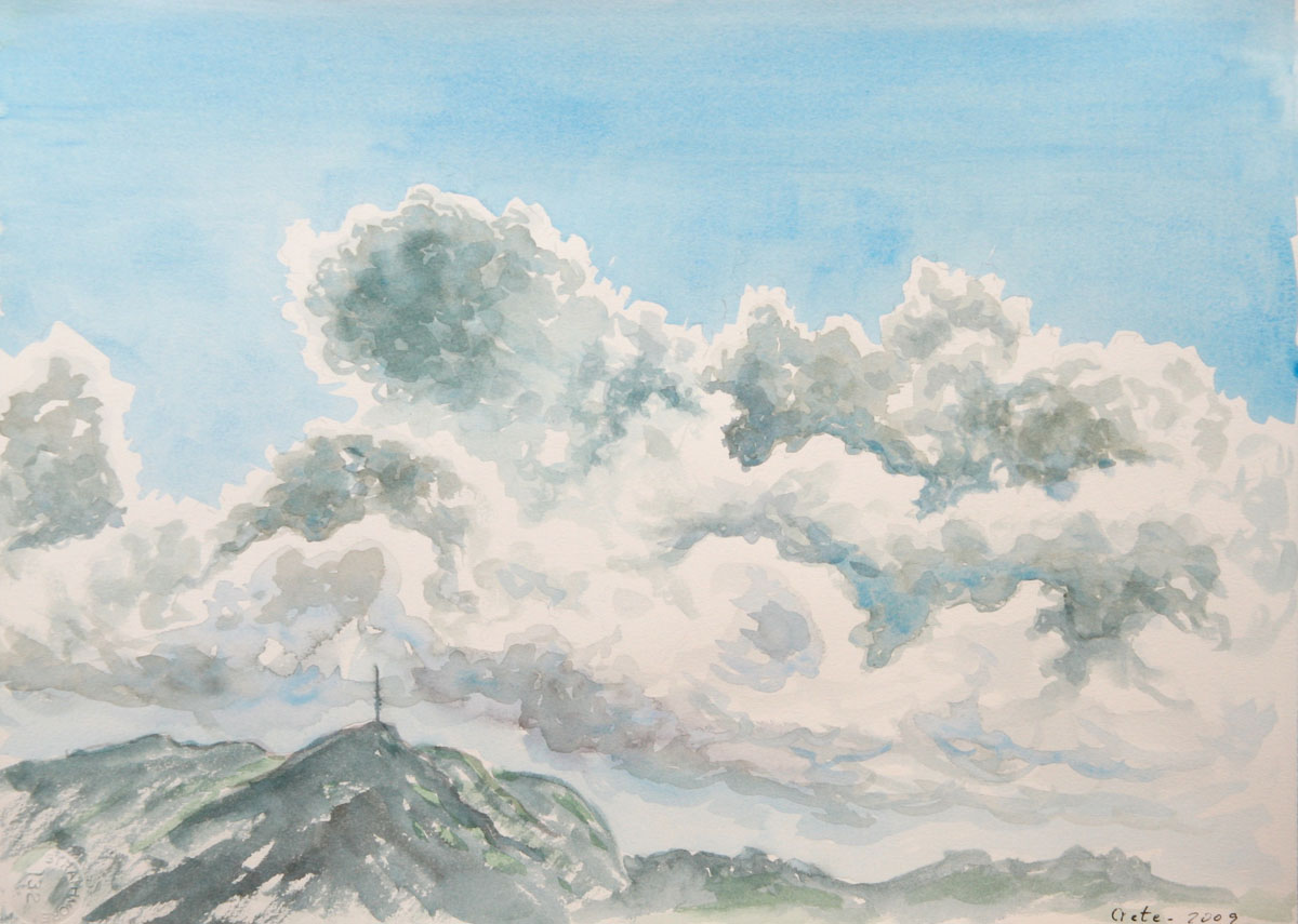 watercolor: Rhythemno, Crete, Volcanic Mountains, Clouds
