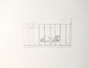 drawing: Gwendolyn in crib