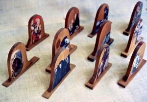 detail, wood sculpture: Tombstones