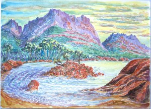 watercolor: Rocky Shores, Freycinet National Park, Tasmania, Australia
