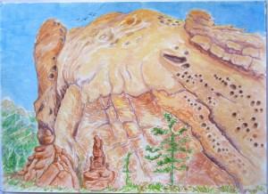 watercolor: Massive Rock, Garden of the Gods Colorado Springs CO