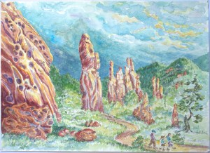 watercolor: Erect Monoliths, Garden of the Gods, and Hikers Colorado Springs CO